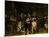 De Nachtwacht - Schilderij van Rembrandt van Rijn Aluminium 160x120 cm - Foto print op Aluminium (metaal wanddecoratie) XXL / Groot formaat!