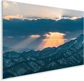 Zonsondergang boven het Moiwa gebergte in Japan Plexiglas 120x80 cm - Foto print op Glas (Plexiglas wanddecoratie)