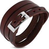 Amanto Armband Farran C - Heren - Leer - Bruin - Wikkel - 8 mm - Aanpasbaar (max.60 cm)