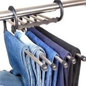 Broek hangers om je broeken in je kast te organiseren. Houdt 5 broeken vast. Ruimtebesparende oplossing voor je garderobe.