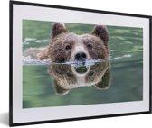 Foto in lijst - Een Grizzlybeer zwemt in het blauwe water fotolijst zwart met witte passe-partout 60x40 cm - Poster in lijst (Wanddecoratie woonkamer / slaapkamer)