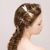 Haarspeld in de vorm van libelle – Goudkleurig