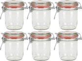 6x Weckpot/inmaakpot 300 ml met rode rubberen ring, klepdeksel en beugelsluiting - Weckpotten - Inmaakpotten - Voorraadbussen