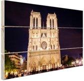 Notre Dame bij nacht Hout 80x60 cm - Foto print op Hout (Wanddecoratie)