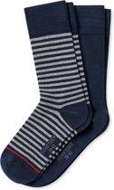 Schiesser - 2-Pack Sokken Blauw Gestreept Grijs - 43-46