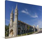 Het Mosteiro dos Jerónimos in Lissabon Canvas 180x120 cm - Foto print op Canvas schilderij (Wanddecoratie woonkamer / slaapkamer) XXL / Groot formaat!