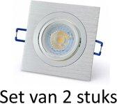 Dimbare 7W GU10 inbouwspot   Zilver vierkant   Set van 2 stuks