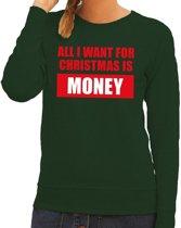 Foute kersttrui / sweater All I Want For Christmas Is Money groen voor dames - Kersttruien M (38)