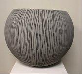 Bloempot bol fiberstone cement grijs 40cm voor binnen en buiten