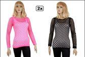 Visnet shirt dames zwart en pink mt. L/XL