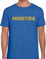 Nineties goud glitter tekst t-shirt blauw heren - Jaren 90 kleding L
