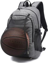 Multifunctionele student basketbal tas mannen outdoor wandelen fitness sporttas  met externe USB-Oplaadpoort (grijs)