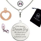Pinkiezz munt ketting hart ' Dream Big '