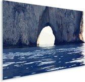 Natuurlijke boog in een rotsvorming in de zee van Capri Plexiglas 90x60 cm - Foto print op Glas (Plexiglas wanddecoratie)