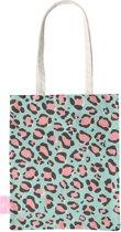 BEACHLANE - Katoenen tasje - Canvas Tote Bag Shopper - Luipaard / Leopard print Blauw - Schoudertas / Boodschappen tas
