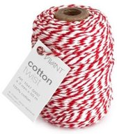 Cotton cord 2 mm x 50 meter klosje rood/wit