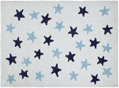 Sterren vloerkleed - messy stars 100% katoen Wit kleed met Blauwe&Navy sterren (messy stars navy)