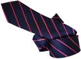 ThannaPhum Zijden stropdas donkerblauw met roze strepen