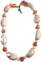 Petra's Sieradenwereld -Ketting oranje met wit (767)