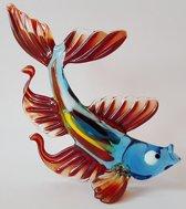 Beeld Vis van glas Design E Rode vinnen handgemaakt