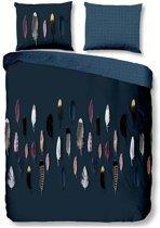 Good Morning Feathers - Dekbedovertrek - Eenpersoons - 140x200/220 cm + 1 kussensloop 60x70 cm - Blauw