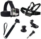 5 in 1 Accessoires Set met Selfie Stick, Chest Mount en Head Strap geschikt voor GoPro Hero 3 4 5 6 7 en Session