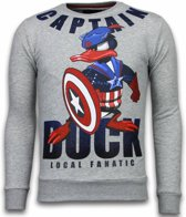 Local Fanatic Captain Duck - Rhinestone Sweater - Grijs - Maten: M