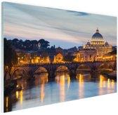 Rome in de avond Glas 120x80 cm - Foto print op Glas (Plexiglas wanddecoratie)