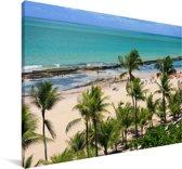 Palmbomen op het Braziliaanse strand van Recife Canvas 140x90 cm - Foto print op Canvas schilderij (Wanddecoratie woonkamer / slaapkamer)