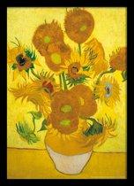 Vincent van Gogh Zonnebloemen vaas poster compleet met lijst aanbieding 50x70cm.