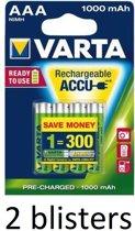 8 stuks (2 blisters a 4 st) Varta AAA Oplaadbare Batterijen - 1000mAh