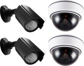 Alecto DC-KIT Dummy Camera diefstal preventie set | Met 2 Dome, 2 buiten camera's en sticker | Wit / Zwart