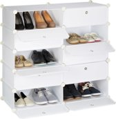 Relaxdays schoenenrek 10 vakken - Met deuren - Wit