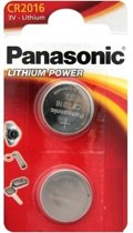 2 Stuks (1 Blister a 2st) - Panasonic CR2016 Professional Electronics 3V 90mAh Lithium knoopcel