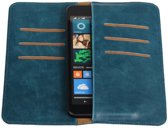 Blauw Pull-up Large Pu portemonnee wallet voor Sony Xperia X