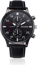 Hidzo Horloge Migeer ø 37 mm - Zwart - Inclusief horlogedoosje