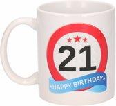 Verjaardag 21 jaar verkeersbord mok / beker