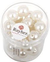 35 stuks witte parel glaskralen 10 mm