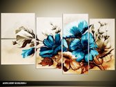 Acryl Schilderij Bloemen   Blauw, Bruin   130x70cm 5Luik Handgeschilderd