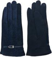 Vintage stijl handschoenen met gespje - donkerblauw