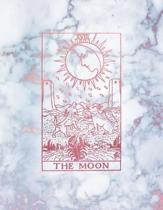The Moon: Dot Grid Notebook - Radiant Marble and Rose Gold Design - 8.5 x 11 - A4 Notebook - Bullet Journal