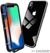 Cacious - iPhone Xs Hoesje - Aluminium Metalen Bumper - Adsorption Case - High-Impact Cover (Zwart)
