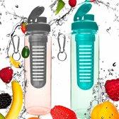 #DoYourFitness - 2x Fruitwater fles - »FruitInfusior« - Fruit infuser voor fruitpunches / groente spritzers - 700ml - zwart/turquoise