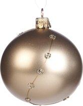 Beige Glazen Matte Kerstbal Met Strassjuweeltjes 8Cm, 6 Stuks