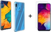 Samsung Galaxy A40 Siliconen Hoesje - 1 x Tempered Glass Screenprotector - Extra Stevige Randen - Shock Proof Case - Transparant