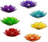 Set van 7 Lotus sfeerlichten chakra's met goudrand