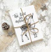 DesignClaud Zwart wit Kaartenset - Kerstkaarten - 12 stuks - Kerstmis - Wenskaarten
