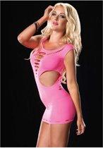 bae0c910488409 Leg Avenue Naadloos Jurkje Stofuitsparingen - pink - XL XXL
