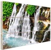 Brede waterval Hout 120x80 cm - Foto print op Hout (Wanddecoratie)