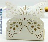 10x Beige Vlinderbox  - Traktatie Doosjes Vlinder Design – Snoepdoosje - Koekdoosje - Koekje – Cookie Box – Butterfly - 10 Stuks